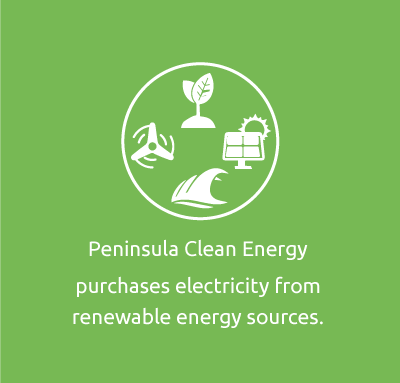 Peninsula Clean Energy purchases electricity from renewable energy sources.